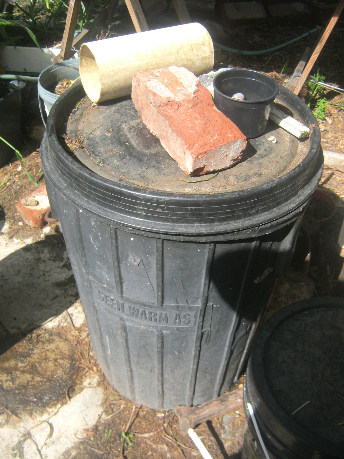 Old large waste bin converted into a worm bin. The bin has drainage holes at the bottom and an easy fitting lid.