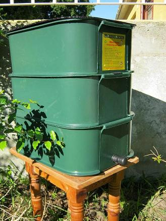 The Mini Tower worm farm from Global Worming. It can recycle kitchen and garden waste from a 2 person household.