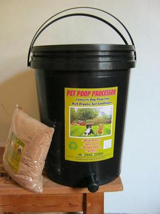 The pet poop processor can recycle dog poop with the help of either earthworms or bokashi bran