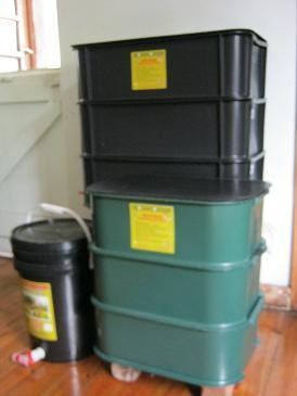 You will learn how to build a range of commercial worm farms like those in this image.