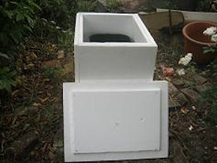 worm farm inside a protective polystyrene box