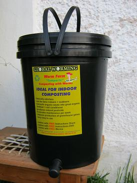 A small indoor worm bin