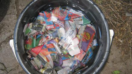 Newspaper strips soaked before being added into a worm farm.