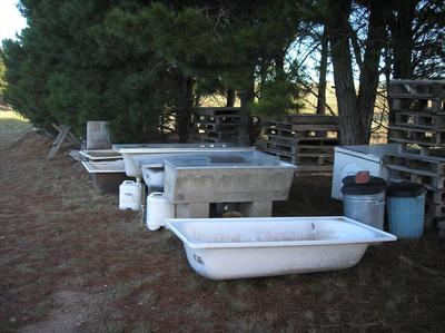Bathtubs used as a worm farm