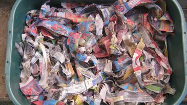Feuchte eingeweichte Zeitungspapierschnipsel eignen sich als Nistmaterial für eine Wurmfarm.