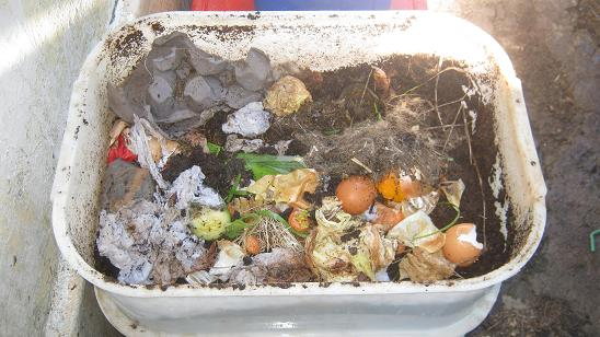 A worm farm with food and worms in the middle bin.